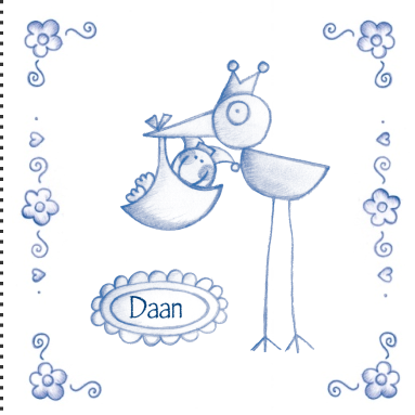Een hollands geboortekaartje met tekening van ooievaar voor zoon - Hoe een kamer van een kind te versieren ...