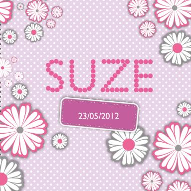 Lief en modern geboortekaartje voor een meisje met vrolijke bloemen - Kantoor voor een klein meisje ...