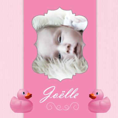 Een roze geboortekaartje met een badeendje en ruimte voor een foto - Foto tiener ruimte meisje ...