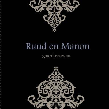 Chique trouwkaartje met barok ornamenten op een zwarte for Sfeer en chique